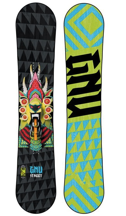 Image of the GNU 2014 street series snowboard, front and back