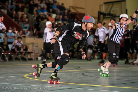 Peter Pan, aka Tony Muse speed skates around the roller derby track