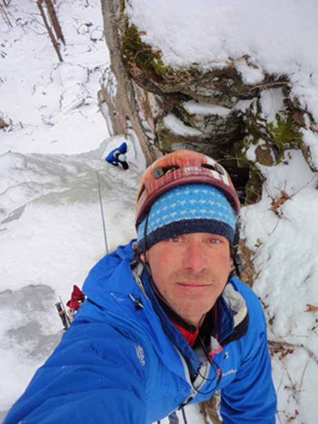 Doug Ferguson takes a selfie while on the mountain ice climbing