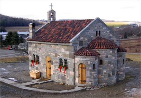 A Greek Orthodox church built by stone mason Mark Arrow